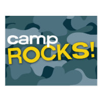 Blue Camo CAMP ROCKS! Postcard