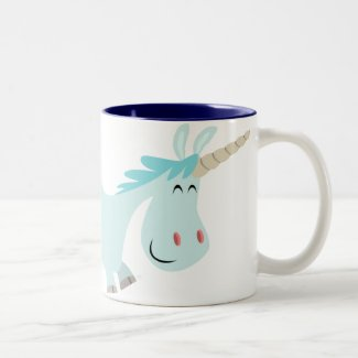 Blue Cartoon Unicorn mug mug