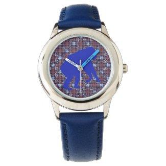 Blue Chimpanzee Art Unisex Watch