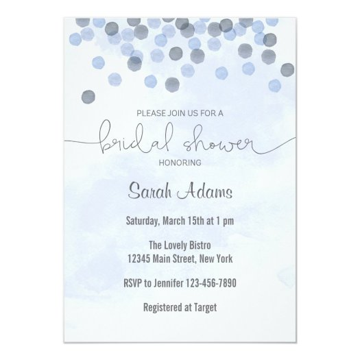 Blue Confetti Bridal Shower Invitation