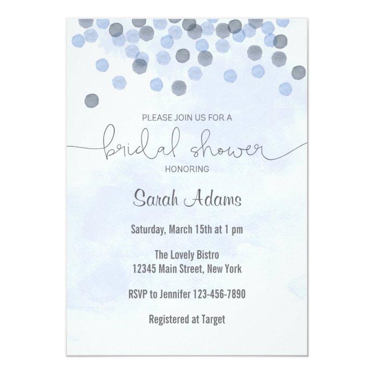 Blue Confetti Bridal Shower Invitation
