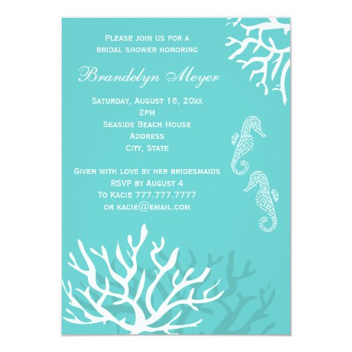 Coral Wedding Shower Invitations