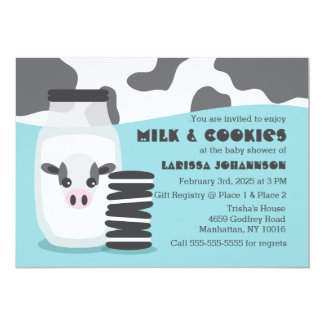 BLUE Cow Milk and Cookies Baby Shower Invitations