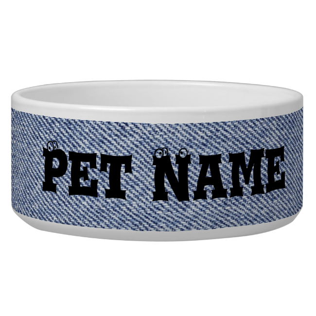 Blue Denim Dog Water Bowls