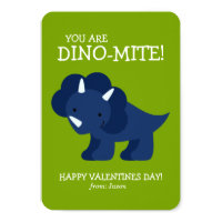Blue Dinosaur Kids School Valentines Card