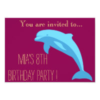 Blue Dolphin girl or tween birthday party Card