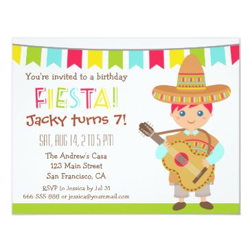 Blue Eye Boy Mexican Fiesta Kids Birthday Party Card
