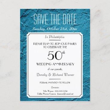 Blue Faux Textured Party Reunion Save the Date Announcement Postcard