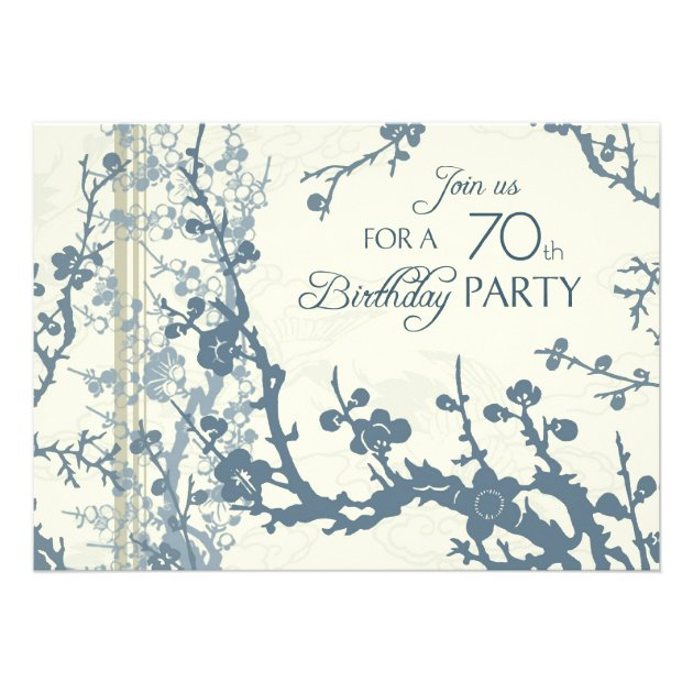 blue floral 70th birthday party invitation cards