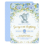 ❤️ Blue Floral Elephant Boy 1st Birthday Party Invitation