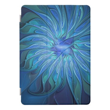 Blue Flower Fantasy Pattern, Abstract Fractal Art iPad Pro Cover