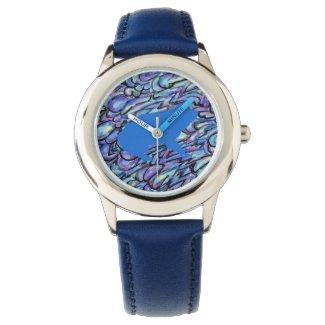 Blue Frog Pattern Art Blue Unisex Watch