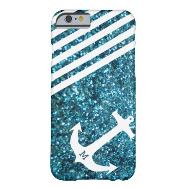 Blue Glitter Nautical Anchor with Monogram Barely There iPhone 6 Case