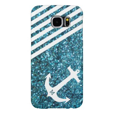 Blue Glitter Nautical Anchor with Monogram Samsung Galaxy S6 Case