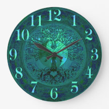 Blue Glow Yin Yang with Tree of Life Large Clock