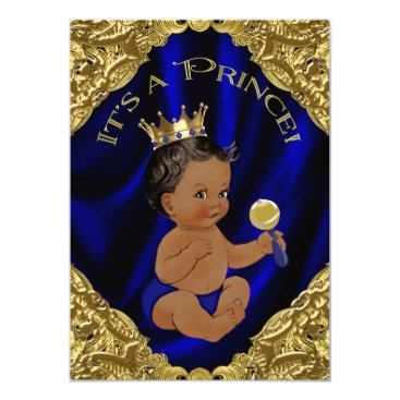 Blue Gold African American Prince Baby Shower Card