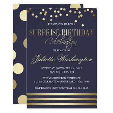Blue Gold Confetti Stripe Surprise Birthday Party Invitation