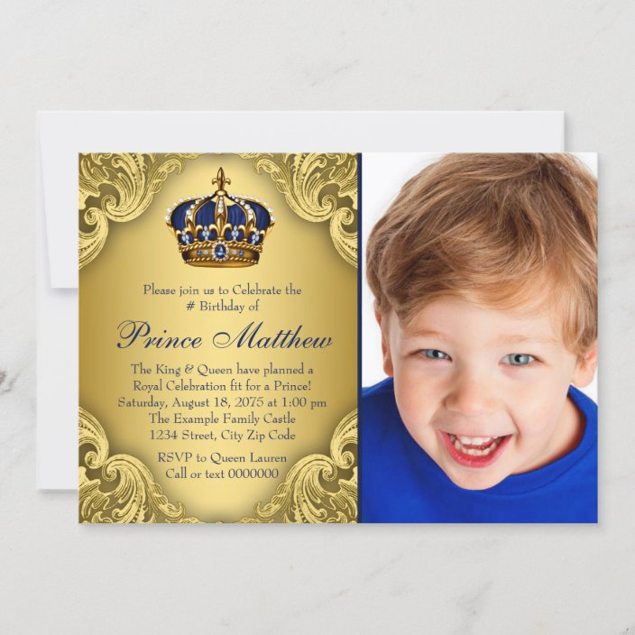 blue gold prince crown prince birthday party invitation zazzle com