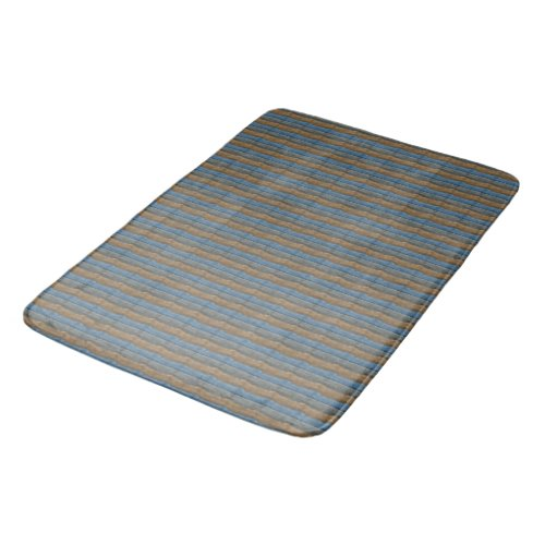 Blue Gray Tan Stripes Bathroom Mat