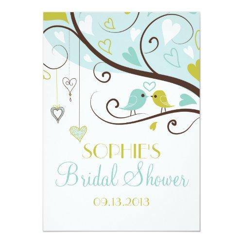 Blue & Green Lovebirds Bridal Shower Invitations