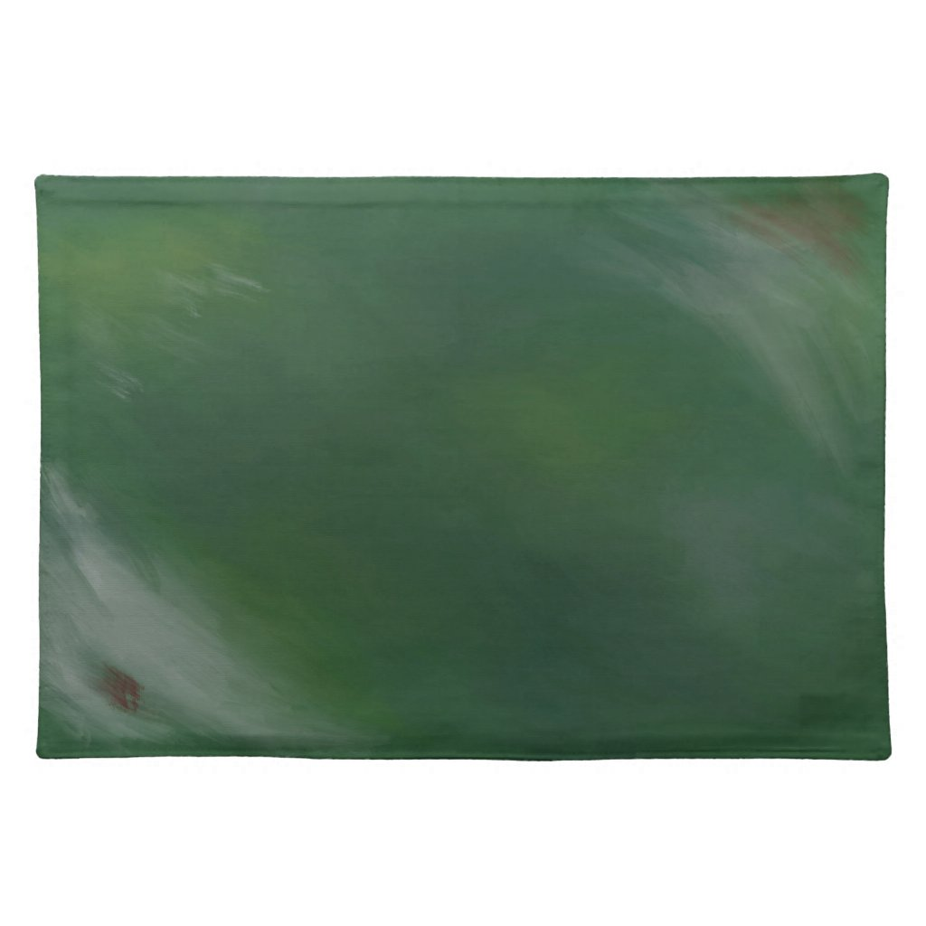Blue Green Painted Abstract Holiday Artwork Cloth Placemat