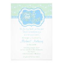 Blue Green Rattle Lace Sip N See Baby Shower Announcement