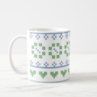Blue & Green Sampler Style Cross Stitch Mug