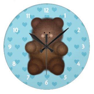 Blue Hearts: Teddy Bear Wall Clock On Blue