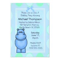 Blue Hippo Birthday Invitations