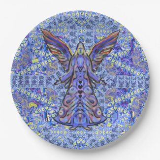 Blue Holiday Festive Angel Art Paper Plates 9 Inch Paper Plate