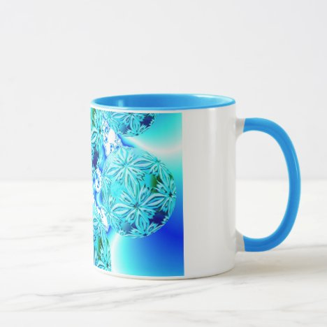Blue Ice Crystals, Abstract Aqua Azure Cyan Spiral Mug