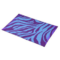 Blue/Indigo Zebra Print Placemat on Zazzle