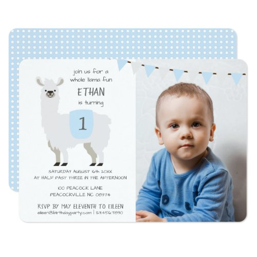 Blue & Ivory Cute Llama Kids Birthday Party Invitation