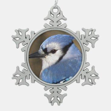 Blue Jay - Bird Snowflake Pewter Christmas Ornament
