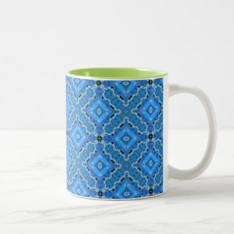 Blue Lace, Crosses, Diamonds Quilt Two-Tone Coffee Mug