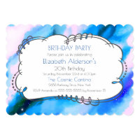 Blue Marbled Outer Space Abstract Birthday Invite