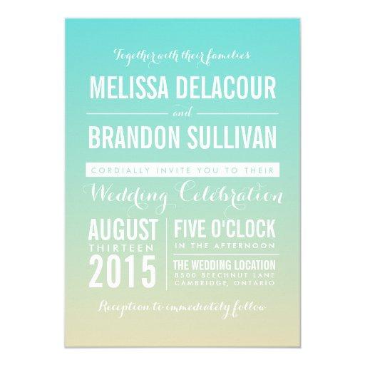 Blue Modern Ombre Beach Wedding Invitation