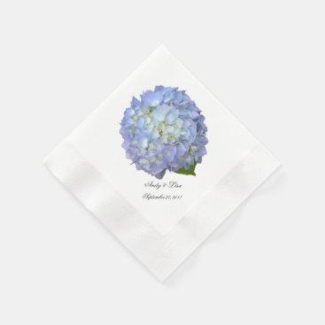 Blue Moon Hydrangea Custom Wedding Paper Napkin
