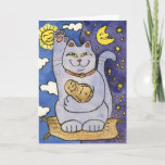 ❤️ Blue Neko with Buddha on Gold Pillow Card