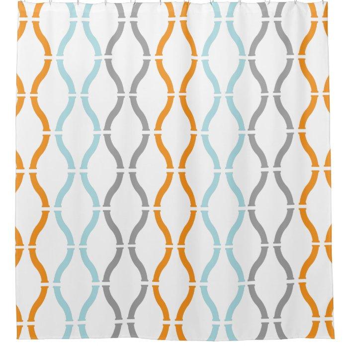 blue orange gray modern geometric funky pattern shower curtain zazzle com