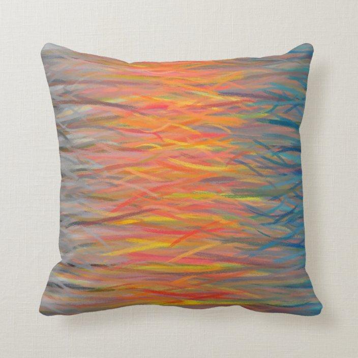 blue orange grey abstract art painting 6 throw pillow zazzle com