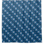 Blue Oval shape design pattern Shower Curtain