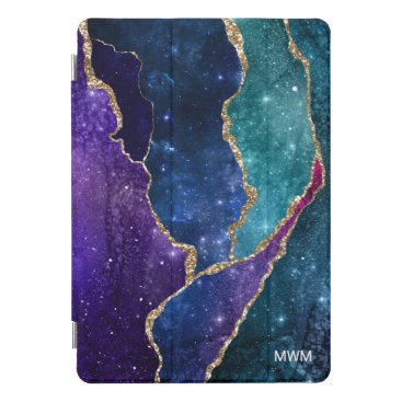 Blue Purple Aqua Gold Veins Agate Monogram iPad Pro Cover