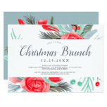 Blue red green floral watercolor Christmas brunch Invitation