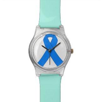Blue Ribbon Illnesses Awareness Wristwatches