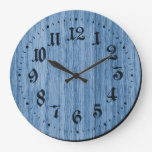 Blue Rustic Wooden Clock