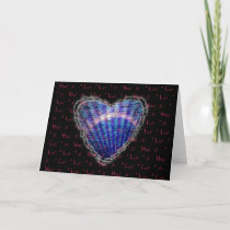 Blue Seashell Heart Valentine Love Romance Card