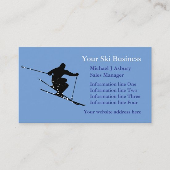 Blue Snow Skier Logo Business Template Business Card