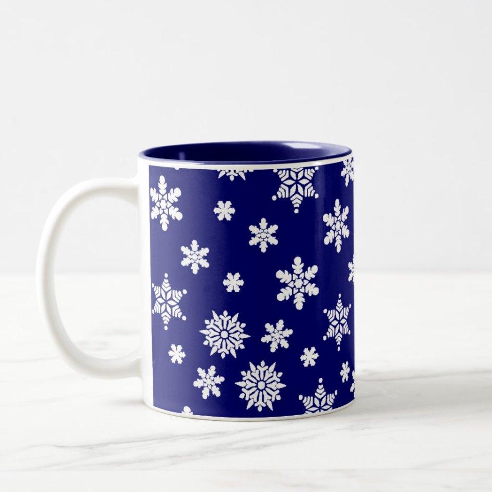Christmas Mugs Gift Ideas - Blue Snowflakes Coffee Mug