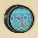 blue southwest pattern -  western abstract art fish tank clock